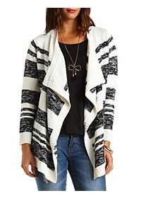 Marled Stripe Cascade Cardigan Sweater