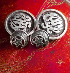 Sterling Persian cuff links Unique Vintage  by NeatstuffAntiques