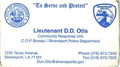 Hopkins security services shreveport louisiana dignity and my business card when i was the commander of the community response unit we were reheart Images