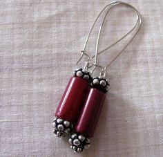 Handmade Earrings Long hoops Maroon Resin bead by Chitrasjewelart, $8.00