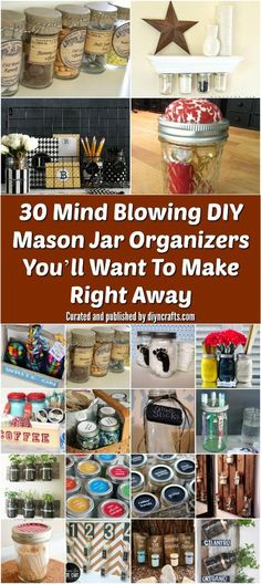If you need some organization ideas for your home then you will want to hear these mason jar ideas! Mason jars are great containers to use to organize your stuff. Try these great DIY organizational projects with your old mason jars today! Mason Jar Crafts, Mason Jar Diy, Bottle Crafts, Uses For Mason Jars, Galaxy Bath Bombs, Pots, Diy Hanging Shelves, Diy Tumblr, Mason Jar Lighting
