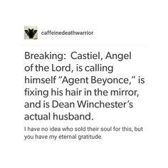 supernatural tumblr textpost castiel