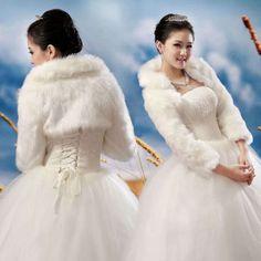 Ivory-Faux-Fur-Wedding-Shawl-Wrap-Jacket-Coat-Scarves-Free-Shipping