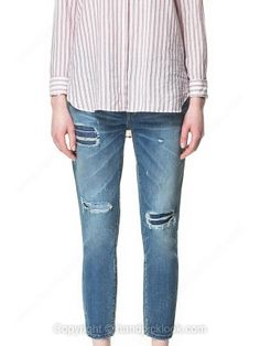 Dark Blue Bleached Ripped Straight Jeans -$31.49