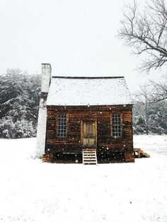 Cozy cabin in the snow.