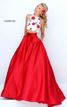 Ivory/Red Scoop Neckline Sherri Hill 50232 Floral Printed Long Satin Evening Gown 2016 Two Piece