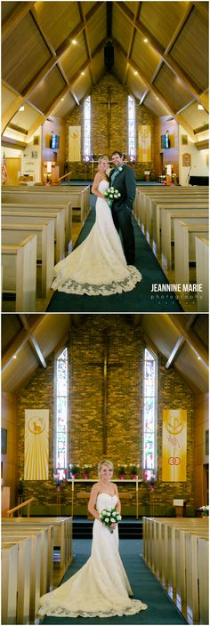 Bride and groom posing in Gloria Dei Lutheran church in Morton, MN photographed by Twin Cities wedding photographer Jeannine Marie Photography #churchweddings #bride #groom #weddingposes #minneapolisweddingphotographer #minnesotaweddingphotographer #jeanninemariephotography