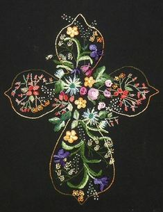 "I ❤ embroidery . . . lovely brazilian embroidery- Brazilian Dimensional Embroidery pattern.  ""He Lives"" is an original design ~By Kathy Hammer for JDR Brazilian Elegance"