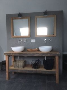 Badkamermeubel en spiegels op maat gemaakt Www. Diy Bathroom Vanity, Rustic Bathroom Vanities, Wooden Bathroom, Rustic Bathrooms, Bathroom Renos, Laundry In Bathroom, Bathroom Styling, Bathroom Interior, Master Bathroom