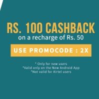 Freecharge 100 Cashback on 50 Offer : Freecharge Coupons Code 2X - Best Online Offer