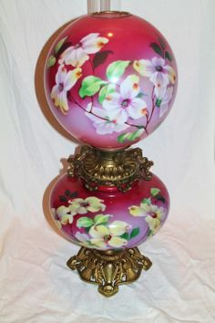 """Museum Quality ~ HUGE Gone with the Wind Oil Lamp ~RARE 13"""" SHADE~Masterpiece Breathtaking BEAUTY WITH HAND PAINTED DOGWOODS ~ Outstanding Fancy Ornate Font Spill Ring and Base~ Original Condition ~Original Parts ~ Master Artistry"""