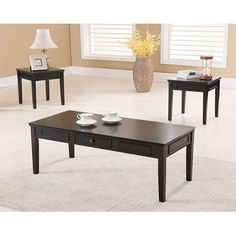 Furniture of America Carten Distressed Espresso 3 piece Accent Table