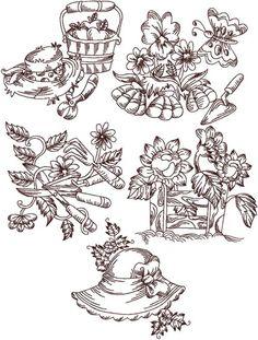 Advanced Embroidery Designs - Redwork Garden Set IV