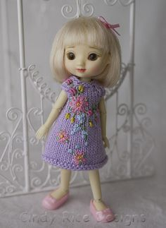 In Love with Lilacs, a teeny tiny hand knit and embroidered dress for Amelia Thimble dolls by Cindy Rice Designs.  via Flickr