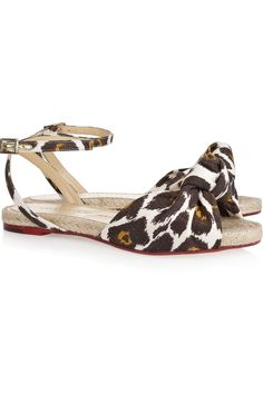 some flats - charlotte olympia 'marina' leopard-print canvas sandals - on sale at @theoutnet #shoeporn