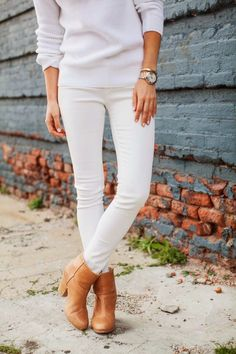 Ankle boots + white skinnies