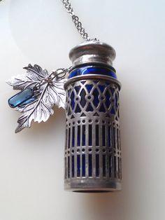 Vintage blue necklace salt shaker necklace silver by ForgotMeNot, $30.00