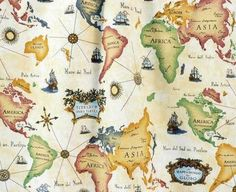 World map fabric by the yard map fabric yards and fabrics gumiabroncs Choice Image