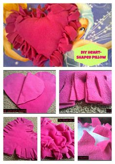 Valentine's Day Knotted Fleece Pillow,heart, round, square, cube or whatever you can think up. Great project to do with the kids.