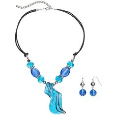 Beaded Blue Spiral Glass Pendant Necklace & Drop Earring Set ($18) ❤ liked on Polyvore featuring jewelry, earrings, blue, beaded pendant necklace, blue glass earrings, blue earrings, glass pendant necklace and spiral earrings