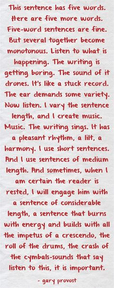 Be sure to vary sentence length so your writing does not sound like a stuck record. Writing Classes, Writing Lessons, Writing Workshop, Writing Advice, Writing Resources, Teaching Writing, Writing Ideas, Teaching Tips, Creative Writing