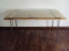 #diy desk really like the use of a glass top on this one.