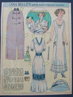 Anna Belle's Sister Mary's Theater Clothes paper doll / Ebay