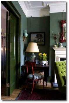 dark green walls with lime green tufted chair & great fireplace. I just love the dark green walls. Decor, Living Room Green, Interior, Green Rooms, Home Decor, House Interior, Green Walls Living Room, Green Living, Interior Design
