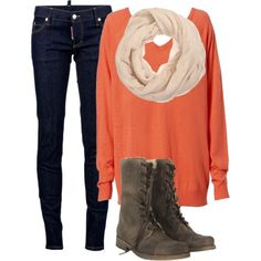 Art skinny jeans, neutral scarf, oversized vneck sweater, and brown boots lovin-me-some-clothes-stuff