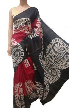 Shop online for Red Hand Batik Murshidabad Silk Saree