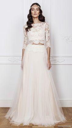 divine atelier 2016 bridal gowns three quarter sleeves bateau neckline lace crop top bohemian a line wedding dress illusion back sweep train (lima) mv