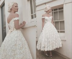 2016 Full Lace Wedding Dresses Custom Size Calf Off Shoulder Vintage Tea Length Wedding Dress A Line Country Simple Wedding Gown White Lace High Street Wedding Dresses Informal Wedding Dresses From Yiyi81, $110.56| Dhgate.Com