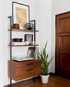 Hot Design Tip: Open Shelf Bookcases Create Visual Drama And Add A LOT Of Style (+ 30 Of Our Favorites) - Emily Henderson #bookshelfdecor #homedesign #style Walnut Bookcase, Cube Bookcase, Bookcases, Open Shelving, Adjustable Shelving, Dark Accent Walls, Dark Walls, Eclectic Living Room, Living Rooms