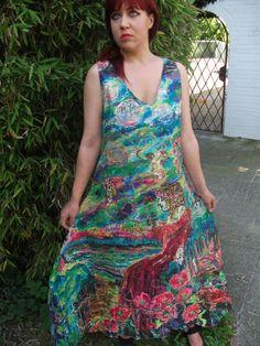 SALEHandpainted silkdress size S. by aminamarei on Etsy