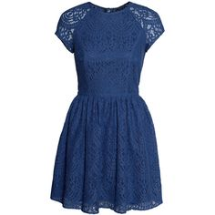 H&M Lace dress ($36) ❤ liked on Polyvore featuring dresses, vestidos, h&m, blue, flared sleeve dress, h&m dresses, blue dress, lace flare dress and sheer sleeve dress