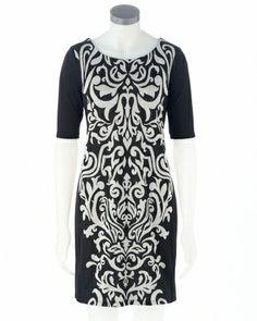 Scroll Print Scoop Neck Sheath Dress Steinmart
