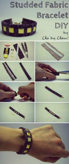DIY: No Sew Fabric Bracelet with Studs