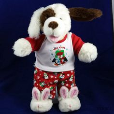 "Build A Bear Dog White Fuzzy Dog Wearing Penguin Pajamas and Bunny Slippers  17"" #AllOccasion US $14.99"