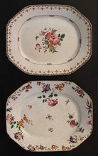 """Pair Antique Chinese Famille Rose 17"""" Platters Porcelain and Enamel Extraordinary - 18th Century, China"""