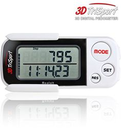 Realalt 3DTriSport Walking 3D Digital Pedometer with Clip and Strap White * Details can be found by clicking on the image. (Note:Amazon affiliate link)