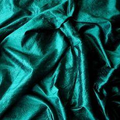Dark Peacock Green 100 Percent Pure Silk Dupioni by FabricMart, $9.95