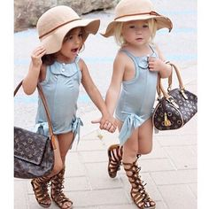 Little girls out for a day of shopping