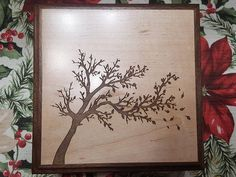 Solid Maple Keepsake box with Walnut Trim and Beautifully Laser Engraved Ornamental Tree Silhouette 2