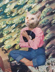 NOSTALGIA - Collage Art, Inkjet Print, Surreal Art, Home Decor, Cat Art, Kid's Room