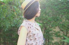Grey/blue/black/white Square Pattern Vintage 1980s Summer Dress