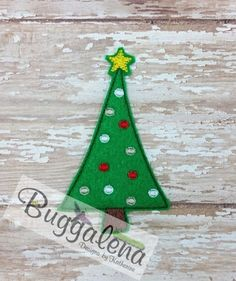 Oversized Christmas Tree Feltie Embroidery Design by Buggalena