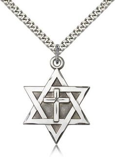 ReligiousObsessions Sterling Silver Star of David with Cross Pendant  24 Chain *** Details can be found by clicking on the image.