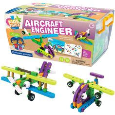 This 71 pc plane and flying vehicle construction kit with the illustrated storybook provides an engaging toy to teach STEM related skills to the preschoolers.