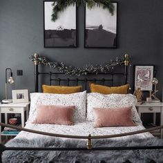 Dark grey walls and monochrome prints in the bedroom. Mustard and pink cushions and spotted bed linen Mustard And Grey Bedroom, Dark Gray Bedroom, Dark Grey Rooms, Gray Bedroom Walls, Pink Bedroom Decor, Dark Grey Walls, Modern Master Bedroom, Bedroom Colors, Dark Grey Bedding