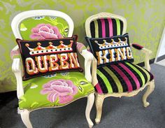 PAIR King & Queen cross stitch kits  large by emilypeacocktapestry, $200.00